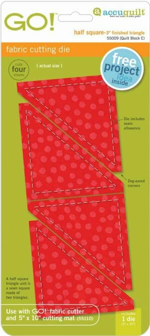 """Accuquilt GO! Half Square Triangle Die - 3"""" Finished Square (55009)"""