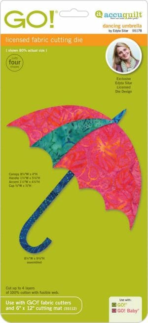 Accuquilt GO! Dancing Umbrella Die by Edyta Sitar