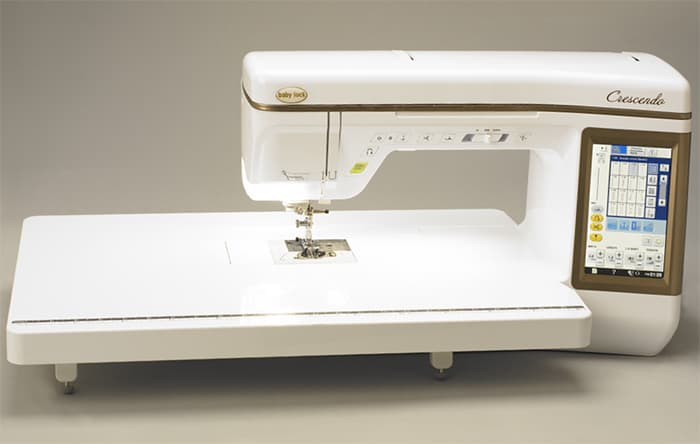 Expand your workspace with the quilting extension table.  It securely fits on your Baby Lock Crescendo so you maintain a smooth quilting surface.