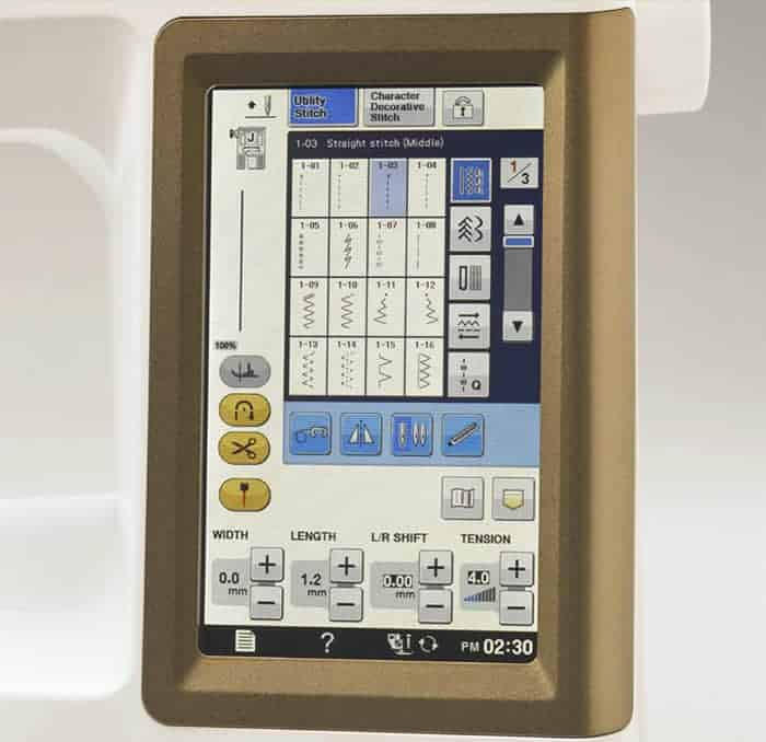"""The 7"""" Color LCD Touch Screen provides a vivid, display of your chosen stitches, machine settings and more."""