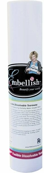 """Embellish Fusible Dissolvable Tearaway 20"""" x 10 yd - Designs by Hope Yoder"""