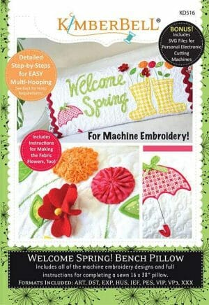 Welcome Spring Bench Pillow Embroidery Collection by Kimberbell Designs (KD516)