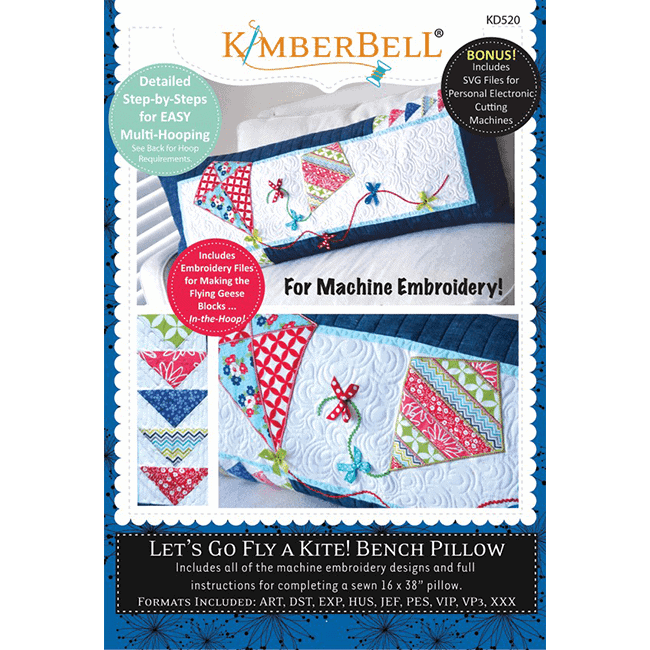 Kimberbell Designs Let's Go Fly a Kite! Bench Pillow Embroidery CD (KD520)